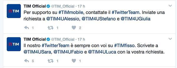 Servizio twitter TIM Protocollo di gestione